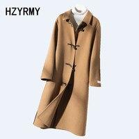 HZYRMY зимнее новое женское кашемировое двустороннее шерстяное пальто однотонное дикое высококачественное длинное шерстяное теплое плотное