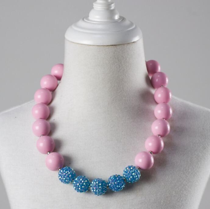 Adjustable Handmade Flower Children Little Girls Bubblegum Scarf Accessories Jewelry Wholesale Chunky Beads Necklace For Kids