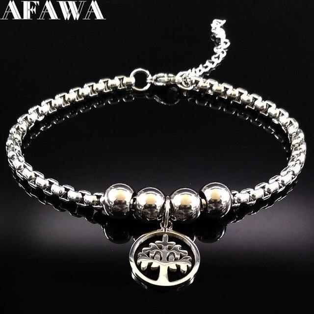 8eacc951f685 Árbol de la vida pulsera de acero inoxidable de las mujeres de plata de  acero inoxidable