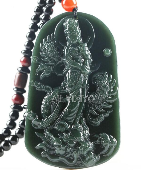 Beautiful Natural Green HeTian Jade Carved Chinese Dragon GuanYin Amulet Lucky Pendant + Rope Necklace Certificate Fine Jewelry