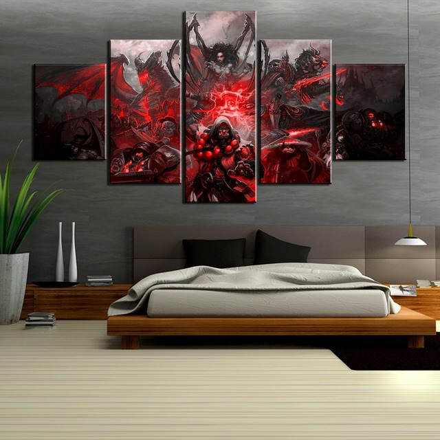 HD Print 5 Piece World of Warcraft Game Poster Painting Canvas Wall Art Picture Home Decoration Living Room Canvas Painting 2