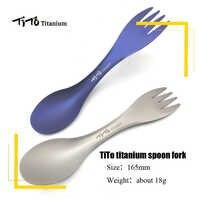 TiTo Outdoor Camping Picknick titanium löffel Geschirr Titanium legierung gabel ultraleicht Reinem Titanium spork
