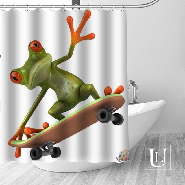 Frog Shower Curtains Custom Design Creative Curtain Bathroom Waterproof Polyester Fabric