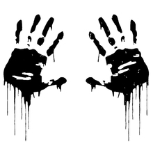 7.5CMX15CM Zombie Bloody Hands Print Fun Vinyl Car Sticker Motorcycle Window Decal Accessories Black white Red цена 2017