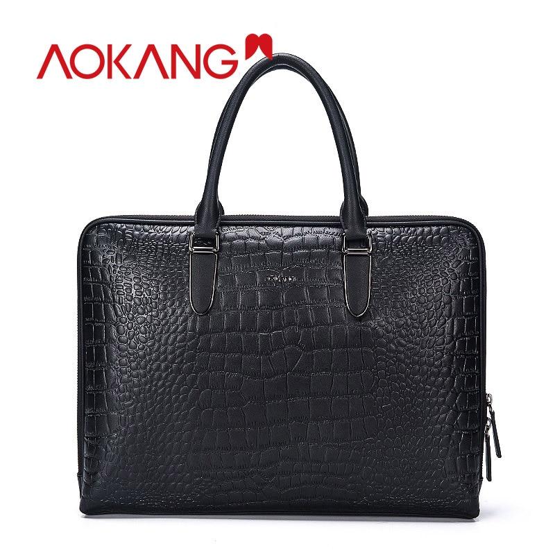 AOKANG 2019 Business Man Bag Black Color  Mens Leather Briefcase Shoulder Leather Messenger Bags Computer Laptop Fashion Bags