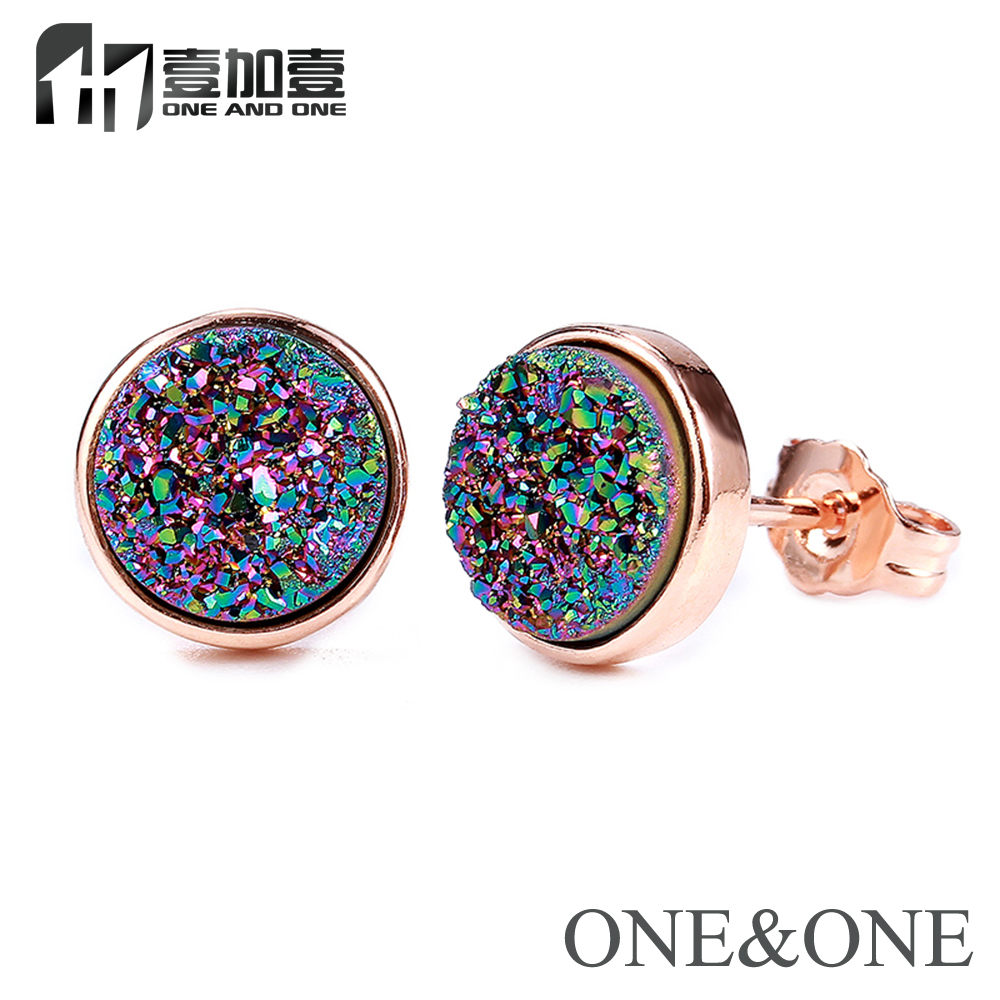 EYIKA Hot Opal Jewelry Round 8mm Natural Druzy Earring for Women Drusy Stud Earrings with 13 colors Wholesale Free Shipping