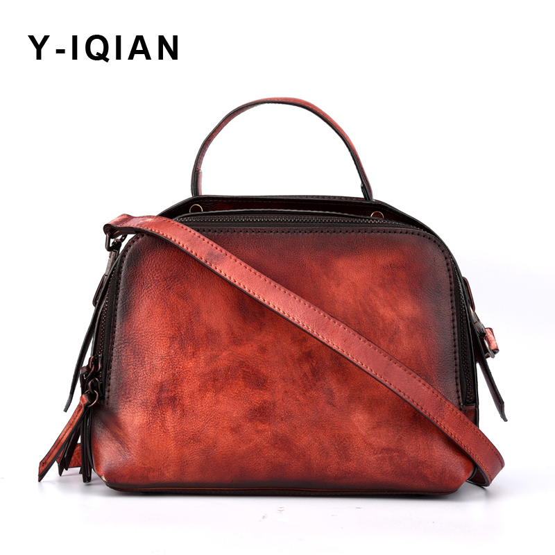 2018 Genuine Leather women Bag Retro Hand Rub Color Shoulder Crossbody Bags Casual fashion Retro messenger bags leather women car parking lot toy model children assembled track parking garage toy diy assembled two story parking with tire carrying case