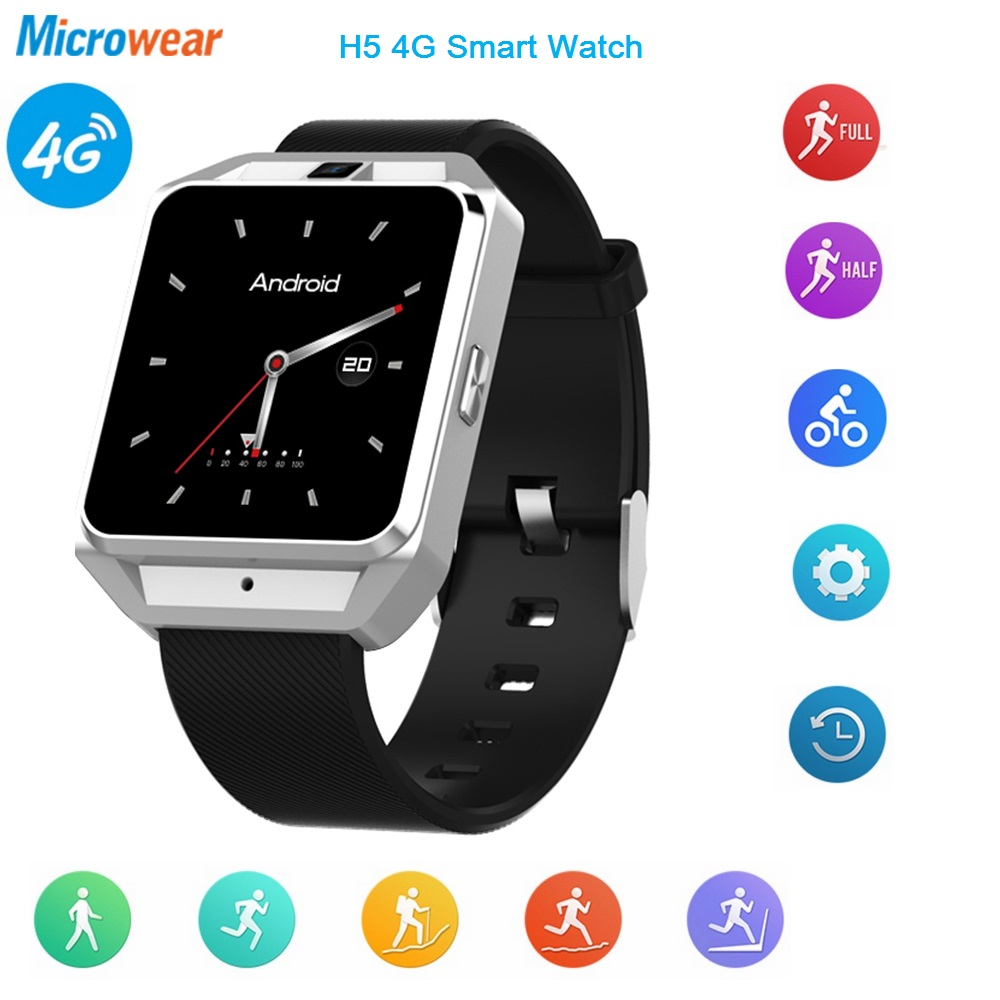Microwear H5 4G Smartwatch Phone Wristband Android 6.0 Quad Core 1G RAM 8G ROM GPS WiFi Heart Rate Sport Bracelet Video Call