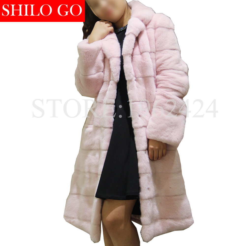Winter new fashion women high quality luxury velvet peach powder lapel long section of imported whole mink fur coat pink