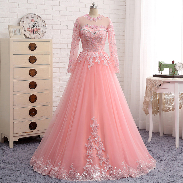New Evening Dresses Luxury O Neck Pink Tulle Appliques A Line Arabic ...