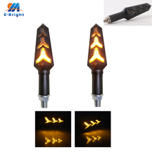 1sets(2pcs) 3014 DC12V Motorcycle E-bike Constantly Amber+Amber Streamer, Yellow Flow-Type Turn Signal Light Handlebar