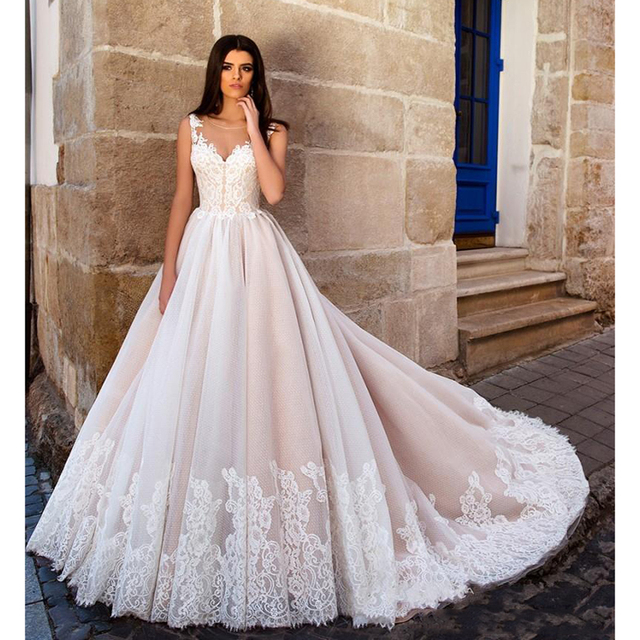 1edf5b65c843a US $160.65 15% OFF|Nude Pink Princess Ball Gown Wedding Dresses Illusion  Sheer Jewel Neck Lace Embellished Back Gorgeous Bodice Bridal Gowns 2019-in  ...