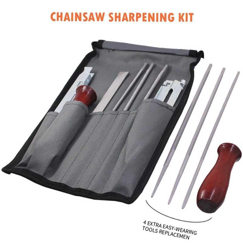 12-pack kit de arquivo de lápis serra elétrica punho de madeira profundidade especificação guia de arquivo ferramenta saco motosserra apontador de arquivo guia ba