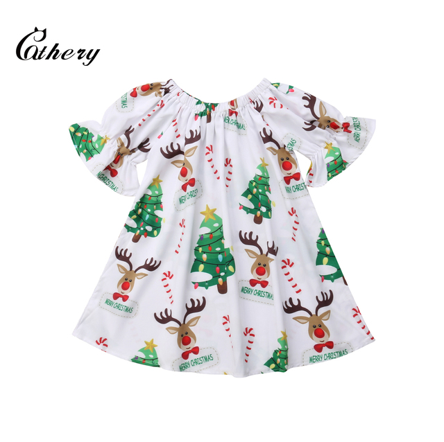 b526a616a6 Cathery XMAS Newborn Baby Girls Deer Print Sleeved Dress Dress Casual  Clothes