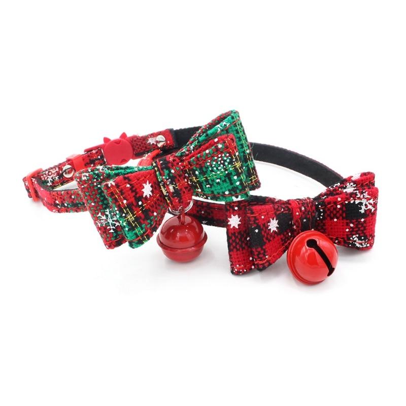 1Pcs Christmas Gift Dog Cat Collar Adjustable Pet Bowknot Necktie Collar Cute Bow Tie Bell Kitten Puppy Pets Supplies in Collars from Home Garden