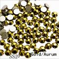 Top Quality 1440PC SS20 4.8mm Gold Aurum Glitter Non Hotfix Green Crystal Glass Nail Art Decorations Flatback Rhinestones 20ss