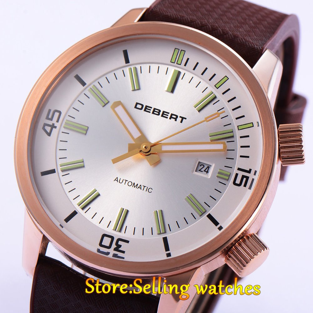 цены DEBERT 45mm White DIal Miyota 821A Movement Automatic Date Day mens Watch