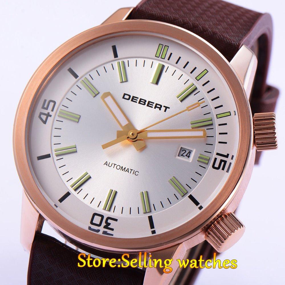 DEBERT 45mm White DIal Miyota 821A Movement Automatic Date Day mens Watch debert 45mm white dial miyota 821a movement automatic date day mens watch
