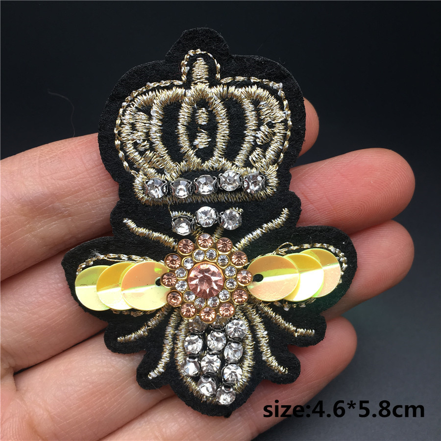 HTB1ffWwainrK1Rjy1Xcq6yeDVXaH Handmade Rhinestone beaded&sequin Patches, BEES COOL FASHION Sew on Crystal pearl patch for clothes beaded Applique cute patch