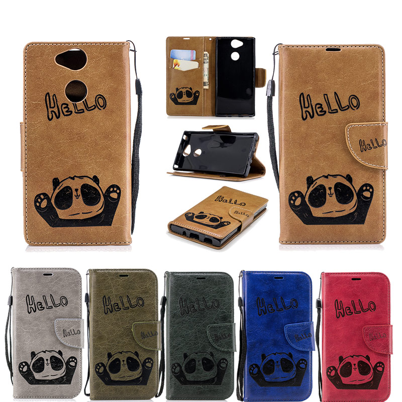 Flip Case For Sony Xperia XA2 Case Hello Panda Emboss Wallet Leather Case For Sony Xperi ...