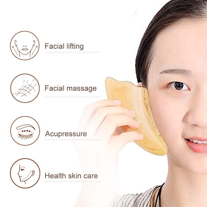 Cofoe gua sha massagem facial ferramenta de raspagem chifre boi gusha terapia guasha placa raspador para a pele médica chinesa
