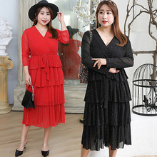2019 Spring And Summer New Fat MM Large Size Womens Clothing Plus Temperament Bright Silk Dress Slim Atmosphere