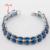 Ronda de Plata Sistemas de la Joyería de Color Azul Zafiro Imitado Mujeres Collar de Gota Colgante Pendientes Anillos Pulsera Regalos de Navidad