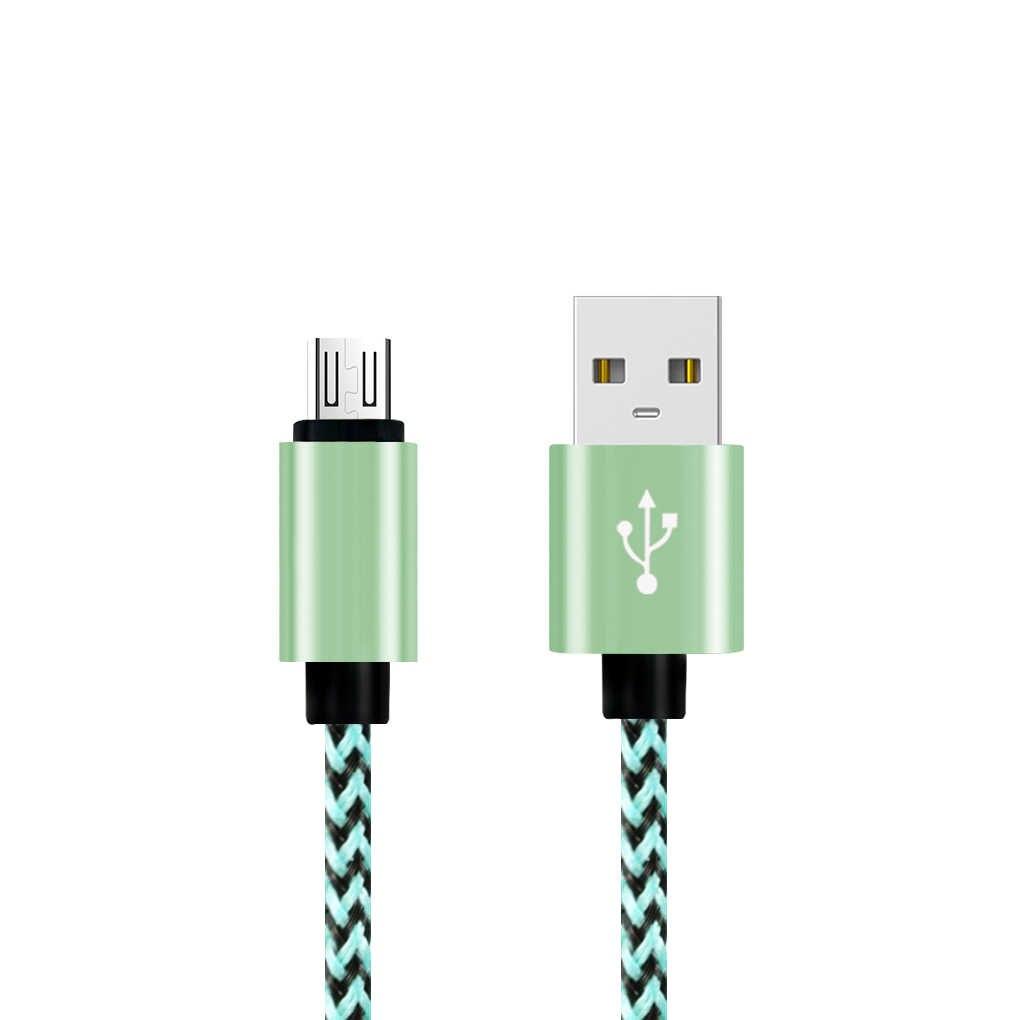 Cepat Pengisian Kabel Nilon Dikepang Kabel Kawat Logam Sync USB Kabel Data Charger untuk Samsung Galaxy untuk Huawei untuk Xiaomi pengisian
