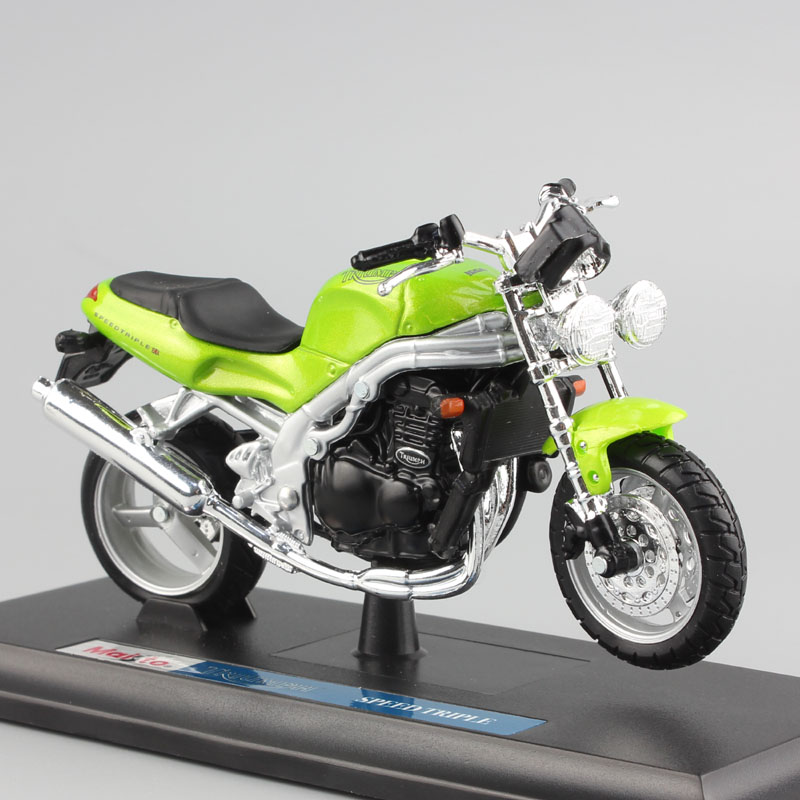 1 18 Scale Kids Mini 1998 TRIUMPH SPEED TRIPLE T509 Streetfighter Metal Diecast Motorcycle Motor Bike Model Toys For Boys Green