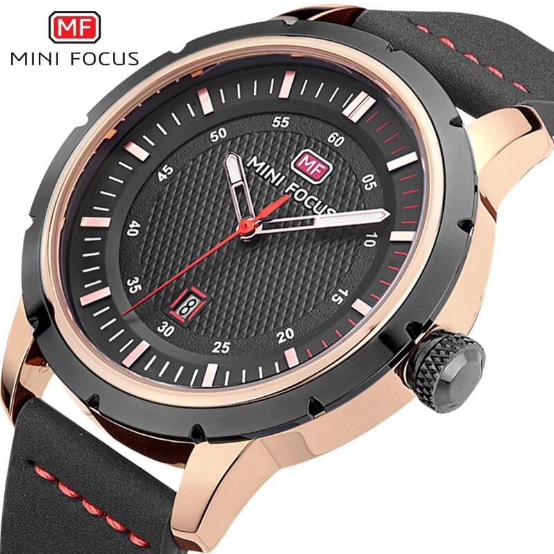 Top Brand MINIFOCUS 2018 Male Calendar Watch Gentlemen Leather Waterproof Sport Quartz WristWatches Chronograph Military Clocks ремни lee ремень gentlemen