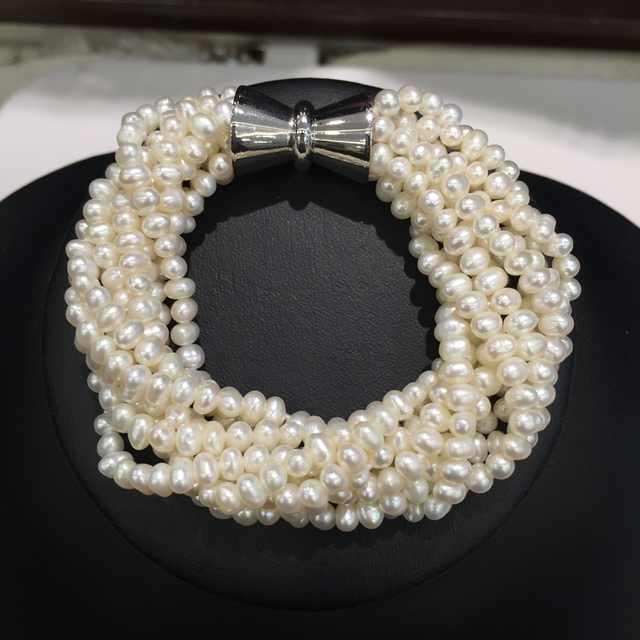 3-4MM Natural Fresh Water Pearl bracelet Multicolor White  Multi  Layers Twist Bracelet Small Pearl Fashion women jewelry