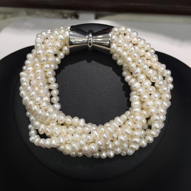 3-4MM Natural Fresh Water Pearl bracelet Multicolor White  Multi  Layers Twist Bracelet Small Pearl Fashion women jewelry