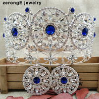 Large noble royal blue full circle crown pageant miss world crystal full tiara crown+earring matching women hair tiara band