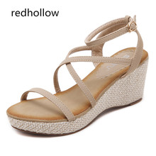 Summer Fashion Women Sandals Ankle Strap Casual Women Shoes Gladiator Sandals Wedge High Heels Shoes For Women Sandalia Muje цена