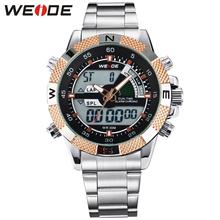 WEIDE 3ATM Waterproof Men Sports Watch Multi-function Military Watches Mens Japan Quartz Movt Black Light Gold wristwatches