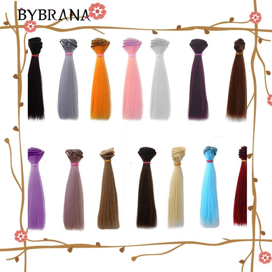 Bybrana 1pcs BJD Wig 15cm*100cm Brown Golden Wine Red Brown Black Straight High Synthetic Temperatur Fiber Hair For DIY Doll