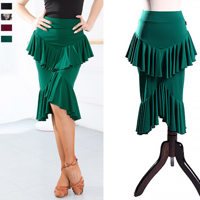2019 New Latin Dance Skirts Lady Cha Cha Rumba Samba Performance Clothing Women Dancing Practice Wear 4 Colors Woman DNS1042