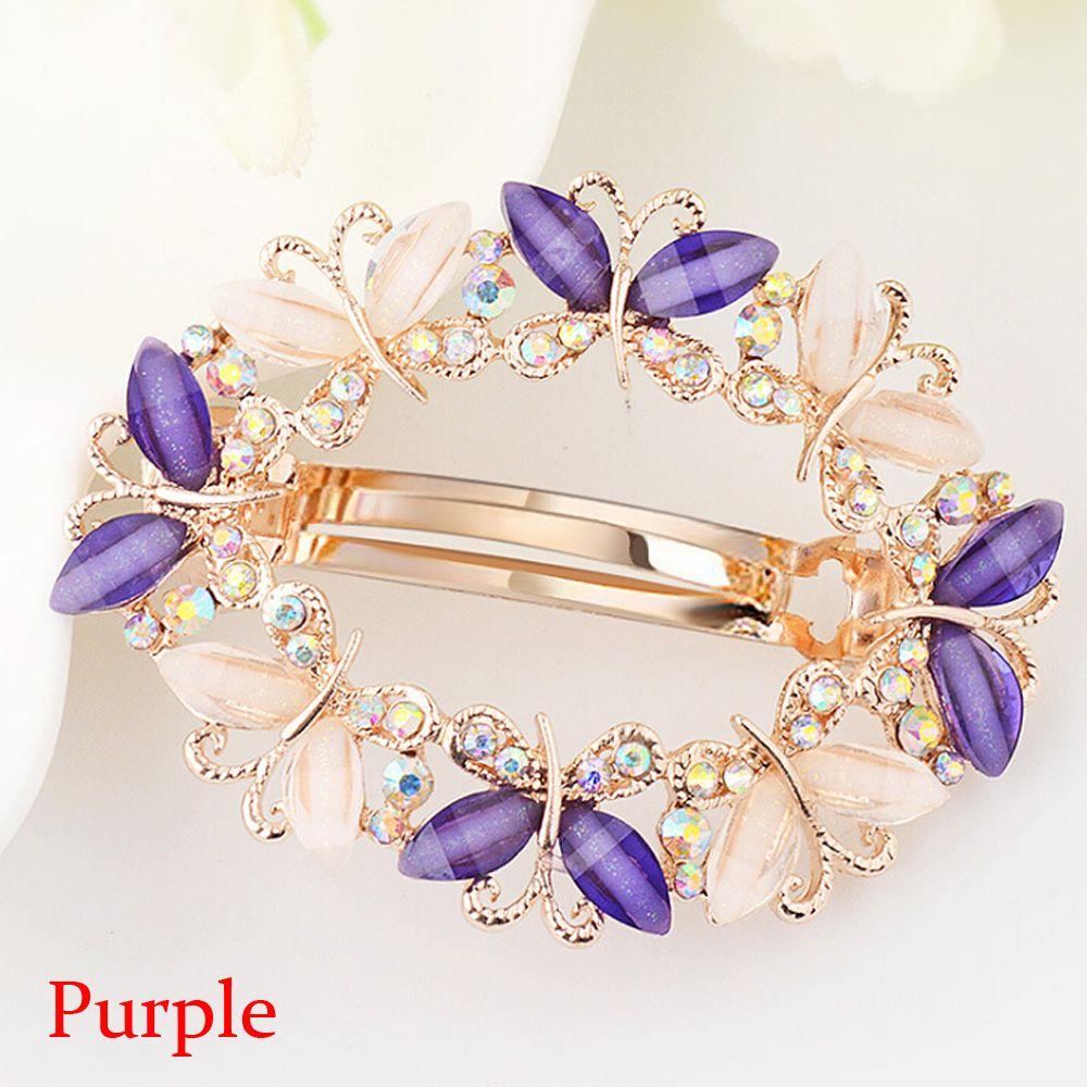 Vintage Women Elegant gem Butterfly Flower Hair clip claw clamp Barrette
