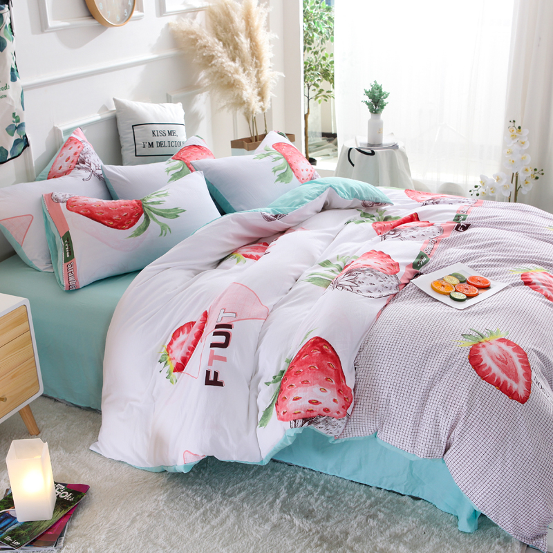 ParkShin Strawberry Bedding Set Soft Duvet Cover Bedspread Pillowcase Single Double Queen King Size Bed Linens For Girl Gift in Bedding Sets from Home Garden