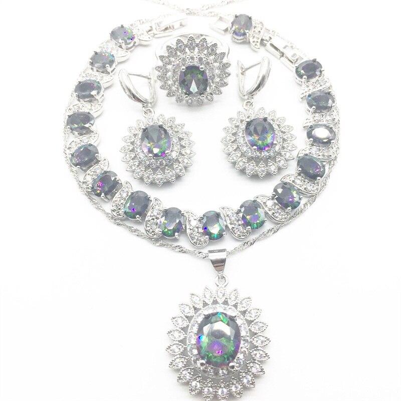 Aisure arc-en-ciel strass blanc Zircon couleur argent ensemble de bijoux pour femmes Bracelets/collier/boucles d'oreilles/bague/pendentif