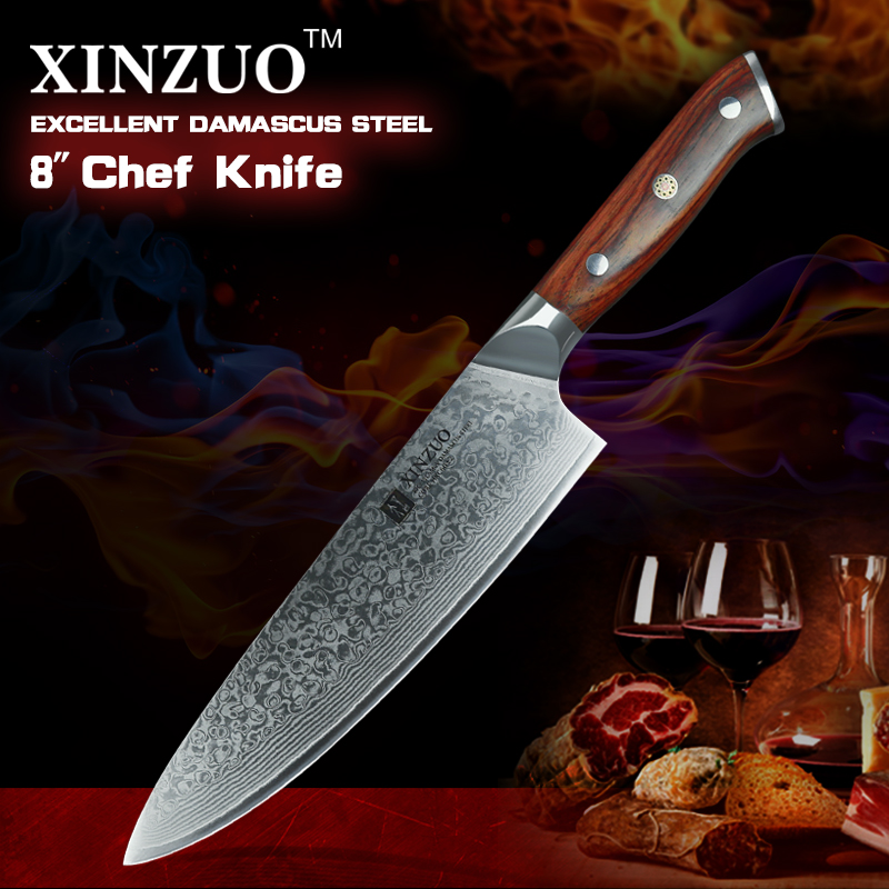XINZUO 8 tums kockknivar High Carbon VG10 Japanska 73 lager Damaskus Kökskniv Rostfritt stål Gyuto Knife Rose Wood Handle