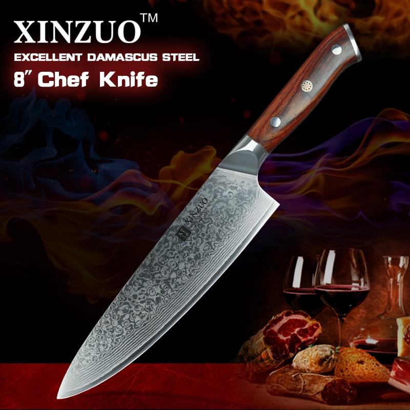 XINZUO 8 დიუმიანი შეფის დანები მაღალი ნახშირბადის VG10 იაპონური 73 ფენის დამასკო სამზარეულოს დანის უჟანგავი ფოლადის Gyuto დანა ვარდების ხის სახელური