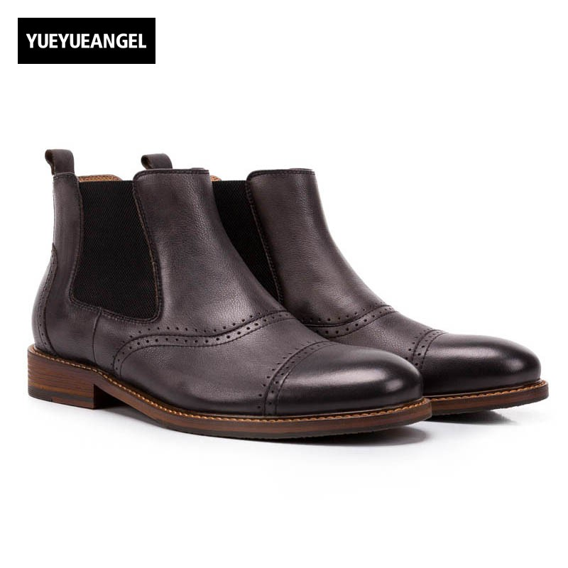 2017 Winter Fashion Mens Chelsea Boots Top Brand Genuine Leather Ankle Boots Slip On Comfort Footwear Round Toe Casual Man Shoes farvarwo formal retro buckle chelsea boots mens genuine leather flat round toe ankle slip on boot black kanye west winter shoes
