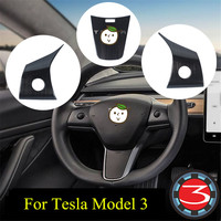 2019 New Car Steering Wheel Panel Cover Stainless Steel Carbon Fiber Sticker Trim Decoration For Tesla Model 3