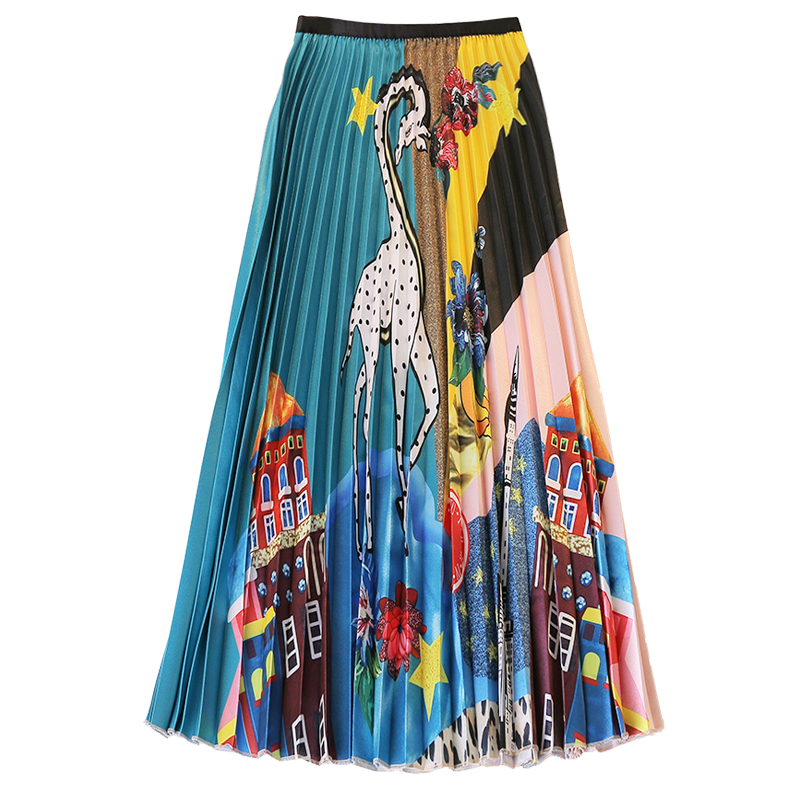 Qooth Women s Long Skirt Summer Skirts 2019 Spring Luxury Cartoon Print Pleated Skirt High Waist