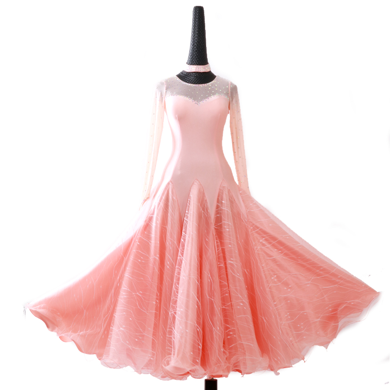 Picture of 2018 New Led Costume Sale Ballroom Dance Skirts Newest Design Woman Modern Waltz Tango Dress/Standard Competition Dress