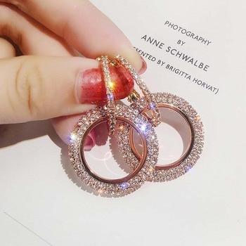Prawdziwa czysta solidna 925 Sterling srebrna igła Hoop kolczyki dla kobiet biżuteria duża okrągła strasy różowe złoto kobiece kolczyki prezent