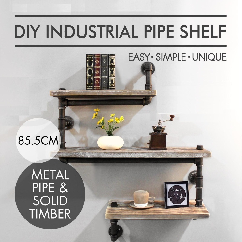 Industrial pipe shelving bookshelf rustic wood ladder pipe wall industrial pipe shelving bookshelf rustic wood ladder pipe wall shelf 3 tiers wrought ironpipe design bookshelf diy shelves in wind chimes hanging amipublicfo Image collections