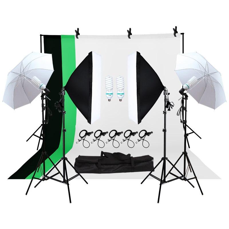 Fotografia professionale Apparecchi di Illuminazione Kit Luce Morbida Ombrello Softbox Luce Titolare Lampadine Presa Fondali Studio Fotografico Kit