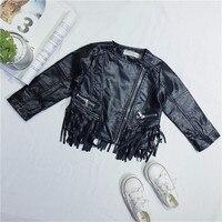 DFXD 2018 Spring Children Girl Clothes Kids Jacket High Quality Black Tassel Zipper Faux Leather Coat Fashion Toddler Outwear